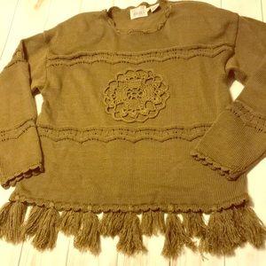 Vintage Boho Sweater Fringe Green Crochet